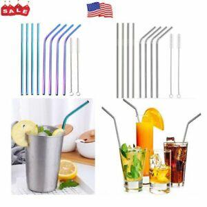 "Reusable Stainless Steel 10.5"" Metal Drinking Straw Straws + Cleaner Brush Kit"