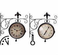 Bahnhofsuhr Outdoor Uhr Doppelseitig Mit Thermometer, Wanduhr Tf005 Innen+außen
