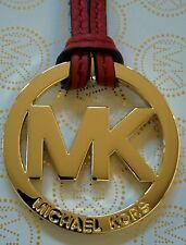 "New Michael Kors 1.75"" MK Gold Charm / Red Genuine Leather Strap Handbag Tag Fob"