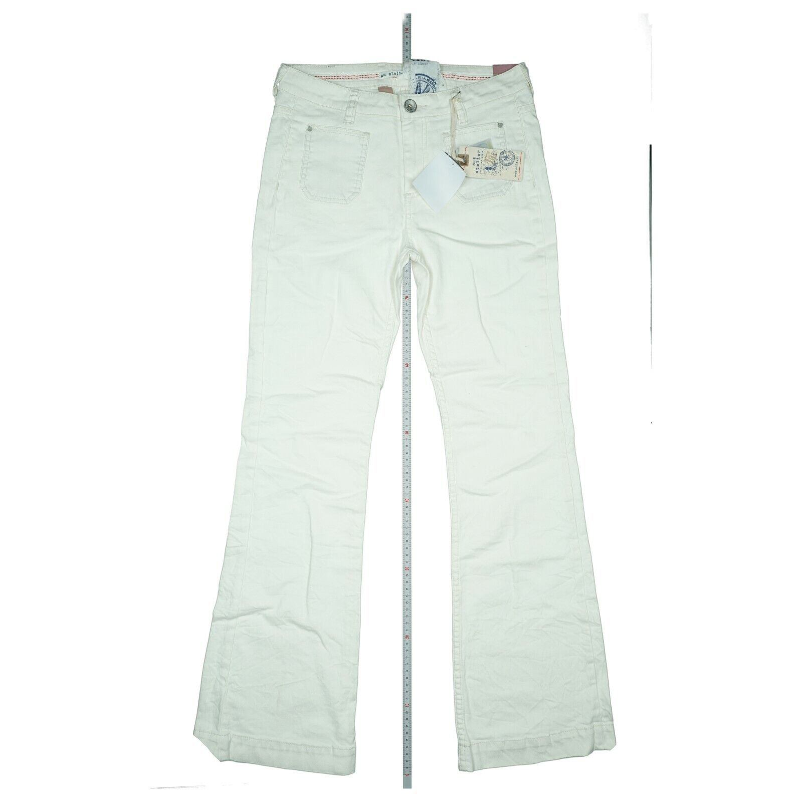 Nile Damen Jeans Stretch Hose Bootcut Flare Schlag 30/32 Gr. S+ W30 L32 Weiß Neu