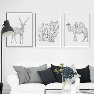 Details About Black White Abstract Animals Posters Nordic Home Decor Wall Art Canvas Painting