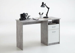 Crete Grey and White Study Desk with Storage Drawers ...