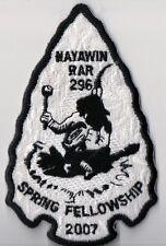 Boy Scout OA Patch, Nayawin Rar Lodge 296, North Carolina 2007 Spring Fellowship