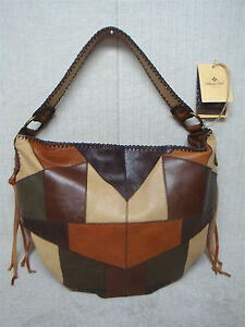 8292f4544ab5 Image is loading PATRICIA-NASH-VINCENZO-P022115-Brown-Patchwork-Leather- Slouchy-