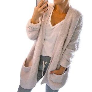 Womens Long Sleeve Knitted Cardigan Fluffy Sweater Pocket Outwear Coat Jacket