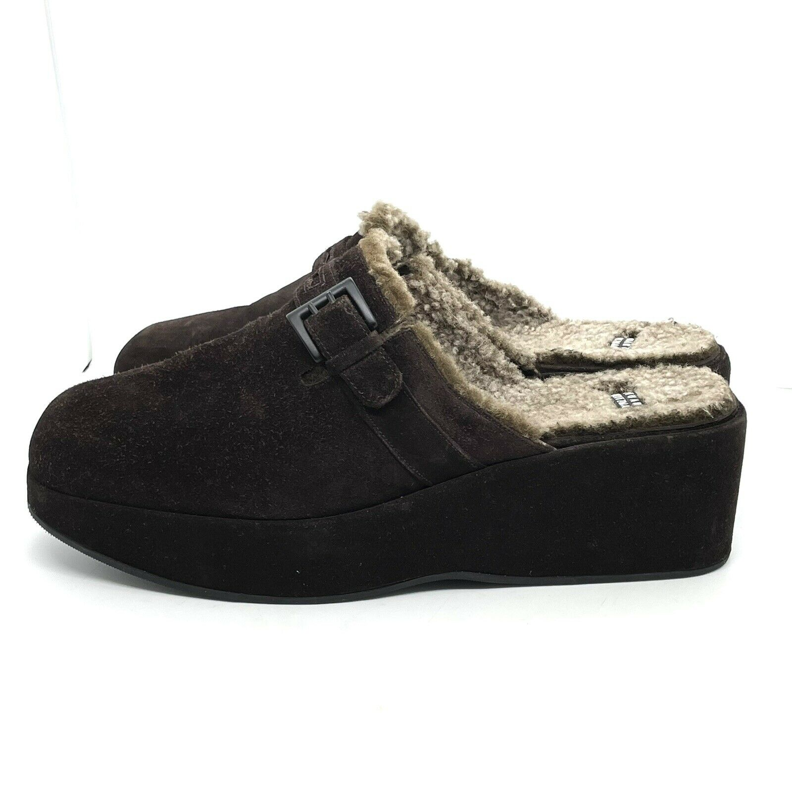 STUART WEITZMAN WOMENS 8.5M Brown SUEDE MULES CLOGS SHEARLING LINED SLIP ON SHOE