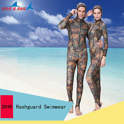 Men & Women's Camouflage Snorkeling Scuba Surfing Diving Full Rash Guard Wetsuit