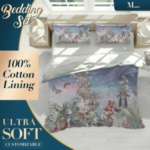 Jungle Birds Forest Blue Quilt Cover Set with Zipper And Matching Pillowcases