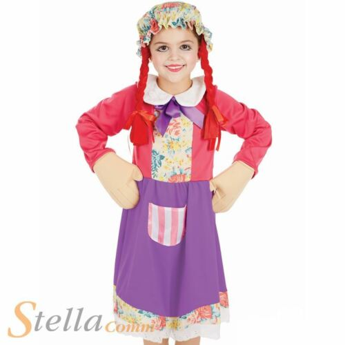 Girls Rag Doll Costume Child Book Week Miss Muffet Fancy Dress Kids Dolly Outfit