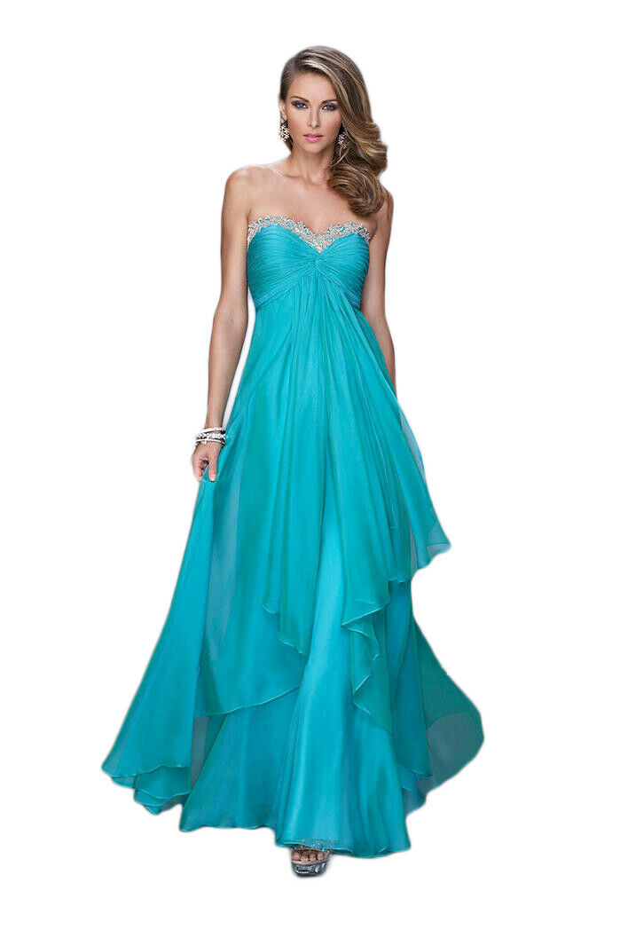 La Femme Prom Dress Formal Evening Gown Style 21374 Watermelon (2), Peacock (12)