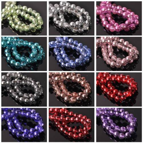 New Half Clear /& Plated Colors Round Glass Loose Spacer Beads Lots 4mm 6mm 8mm