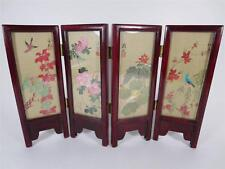 Vintage Chinese Four Panel Silk Table Screen (#105-14)