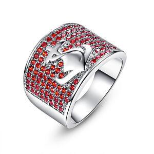 Fashion-18K-White-Gold-Filled-Round-Garnet-Boat-Anchor-Gemstone-Ring-US-Size-8