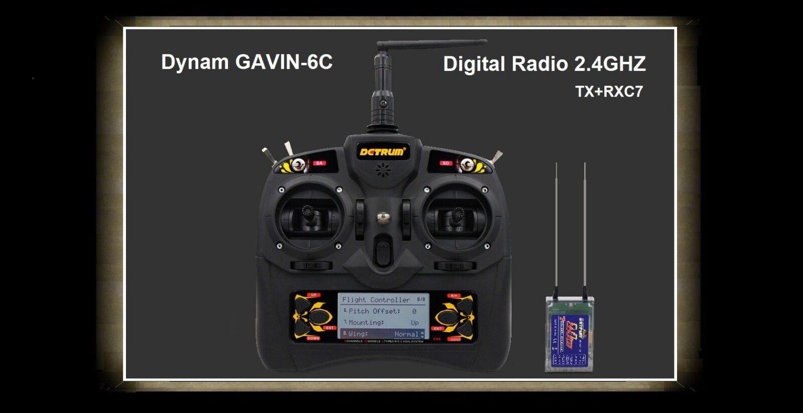 Dynam Detrum 2.4G Gavin - 6Ch con RXC7 Ricevitore 7CH con memoria modello 30