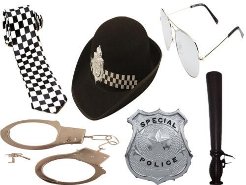 WOMEN GIRLS 6PC POLICEWOMAN SET COP FANCY DRESS HEN PARTY POLICE HAT COSTUME KIT