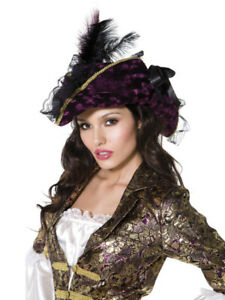 Ladies High Quality Deluxe Pirate Bucanneer Captain Fancy Dress Hat W// Feather