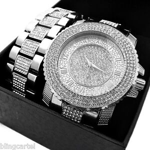 Hip Hop Watch Set Iced Out Silver Tone Roman Numerals Mens