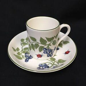Crown-Staffordshire-Demitasse-Cup-Saucer-Set-Blueberries-Ladybug-Bone-China-VTG