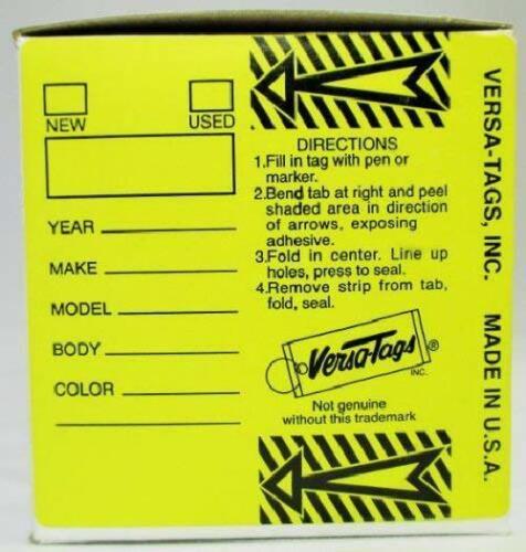 250 per Box Self Laminating Self Protecting Versa Tags Key Tags with Rings Ye