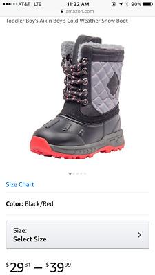 CARTER/'S AIKIN BOY/'S COLD WEATHER SNOW BOOT BLACK RED GRAY 7 TODDLER CHILDREN