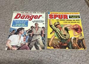 1959 Men's Magazine  SPUR  DANGER Great Adventure LOT OF 2 better grade