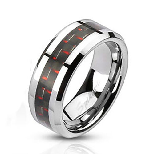Stainless Steel Men/'s 8MM Black /& Red Carbon Fiber Inlay Wedding Band Ring 9-13