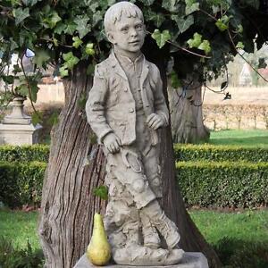 Gartenfigur-Steinfigur-Dekofigur-Statue-Skulptur-Junge-62cm-Steinguss-Antik