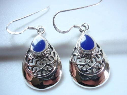 Blue Lapis Filigree Teardrop 925 Sterling Silver Dangle Earrings