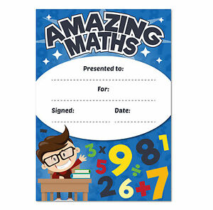 a6 amazing maths reward certificates children kids teachers