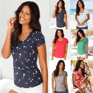 Plus Size Womens Short Sleeve Long Tops Blouse Ladies Summer Beach T Shirt Dress