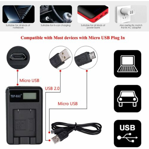 Camera battery charger NP-BN1 /& USB cable Sony Cybershot DMW-W800 W810 W830 W380