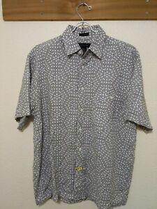 J-Ferrar-Men-039-s-Short-Sleeve-Button-Up-Blue-White-Geometric-Patterned-Shirt-XS