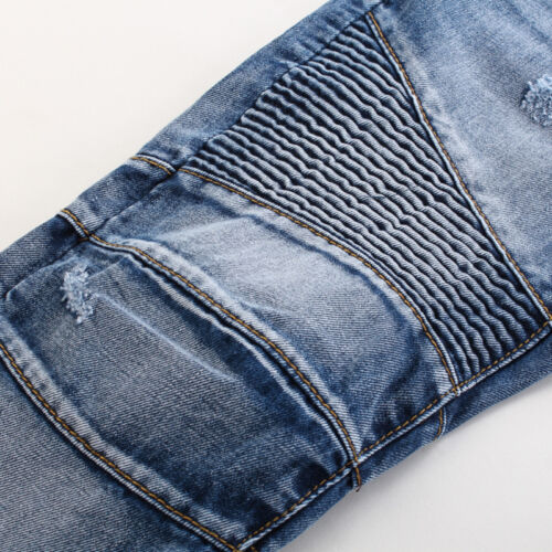 Mens Distressed Straight Jeans Motor Biker Pants Skinny Ripped Slim Fit Denim