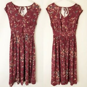 Roxy-Open-Back-Dress-Floral-Red-Peach-S-Small-New