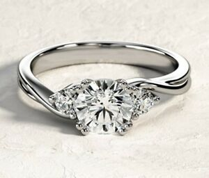 14K White Gold Over 3-Stone 2 Ct Round Cut Moissanite Solitaire Engagement Ring