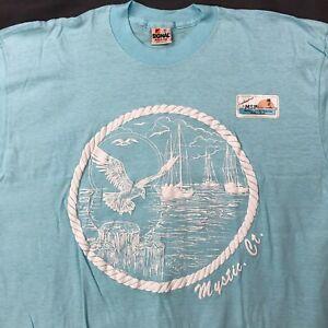 New-Vtg-Mystic-Connecticut-Sailboats-Shirt-Sz-XL-Light-Blue-Short-Sleeve-Tee