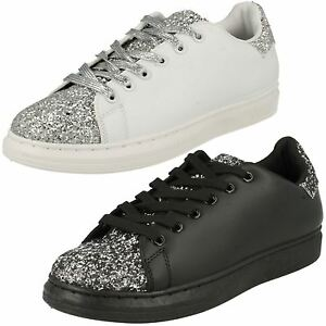 LADIES WOMENS SPOT ON LACE GLITTER PUMPS SNEAKERS TRAINERS SHOES F80191