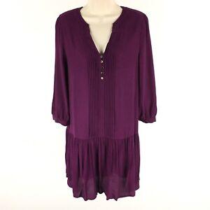 Anthropologie-Maeve-Dress-Galina-Drop-Waist-Crepe-Pintuck-Popover-Purple-Small