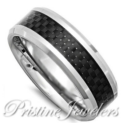 Solid Titanium Ring Black Carbon Fiber Inlay Men Jewelry Silver Wedding Band 8mm
