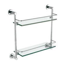 Bathroom Modern Round Brass Chrome Wall Mounted Double Glass Shelf Accessory