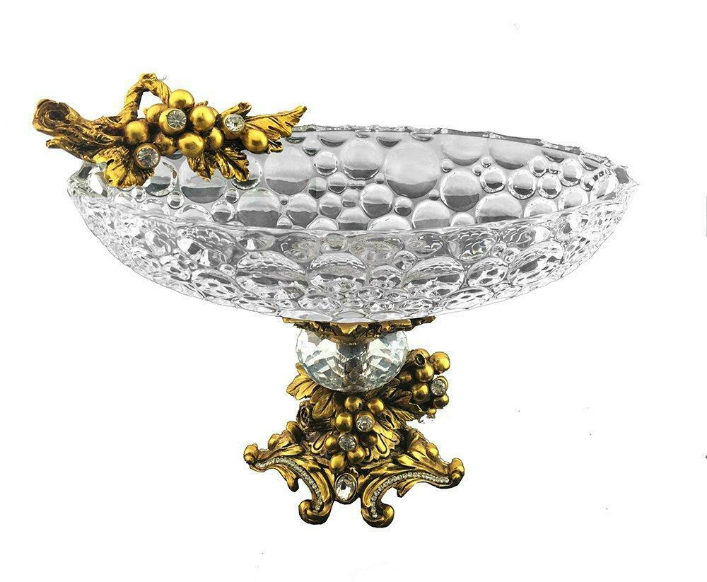 (D) Glass Oval Bowl on Base 11 x 6 x 8 Inches Decorated with Swarovski Crystal