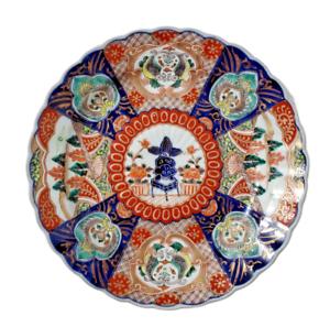 "Antique Meiji Japanese Imari Scalloped Porcelain Bowl  9.75"""