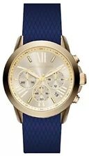 NWT MICHAEL KORS Gold Bradshaw Navy Blue Silicone 39mm Chronograph Watch MK2556