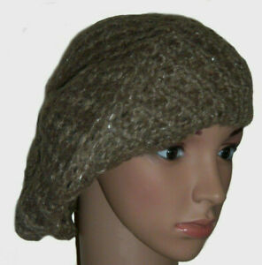 Brown-Knitted-Silver-Sparkly-Crochet-Beret-Beanie-One-Size-Slouch-Hat-Soft-Feel