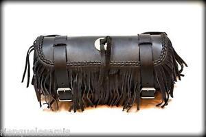 Sacoche-de-fourche-sac-trousse-a-outils-Cuir-Avec-Frange-lacet-moto-trike