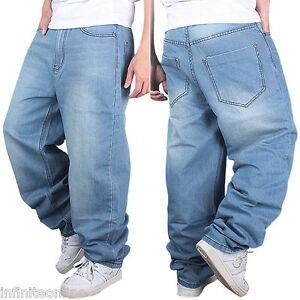 Men-039-s-Jeans-Pants-Baggy-Loose-Fit-Denim-Hip-Hop-Rap-Skateboard-Cargo-Trousers