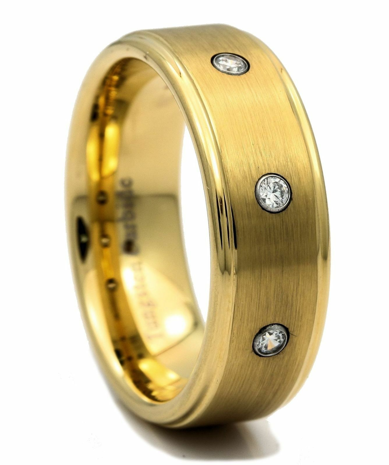 8mm Brushed Center Tungsten Carbide Mens Wedding Ring CZ NEW