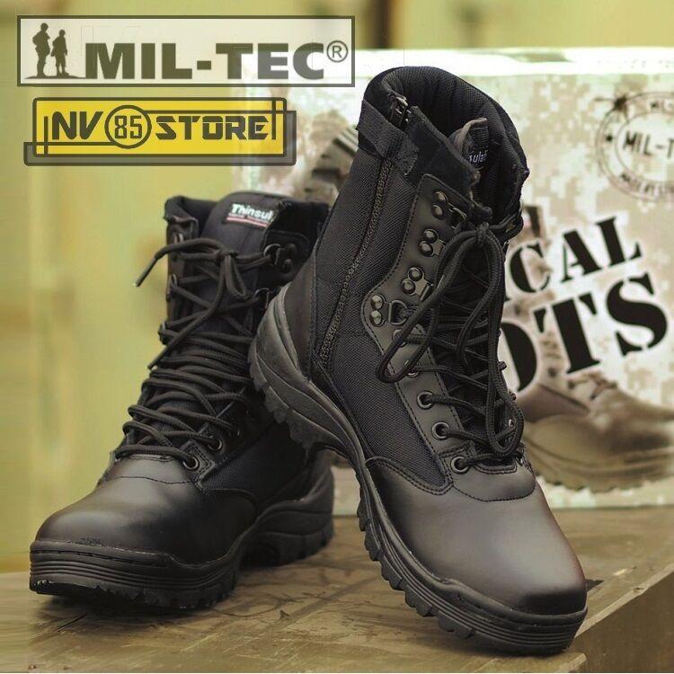 Stiefel Anfibi Militari Stiefel Security MILTEC Thinsulate 3M Pelle Leather ZIP BK