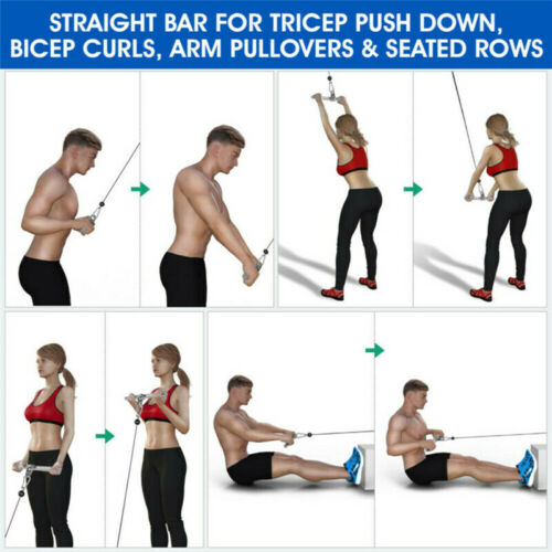 Tricep Bar Multi Gym Cable Attachment Push Pulling Down Arm Exercise Accessories