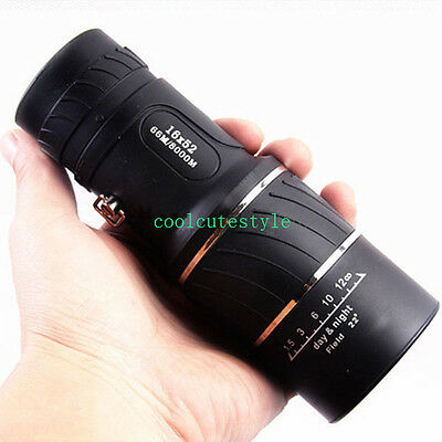 16x52 Optics Zoom Lens Camping Hiking Hunting Monocular Telescope Scope Outdoor